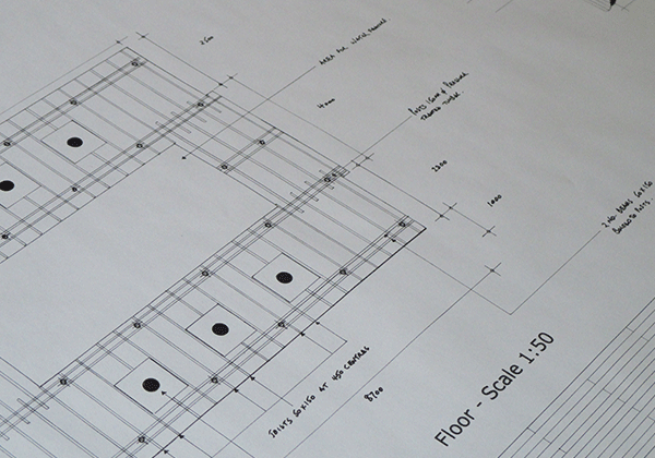 Garden Design Construction Drawing for decking